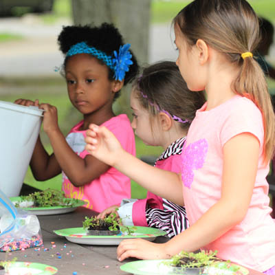 Girl Scouts learning about plants