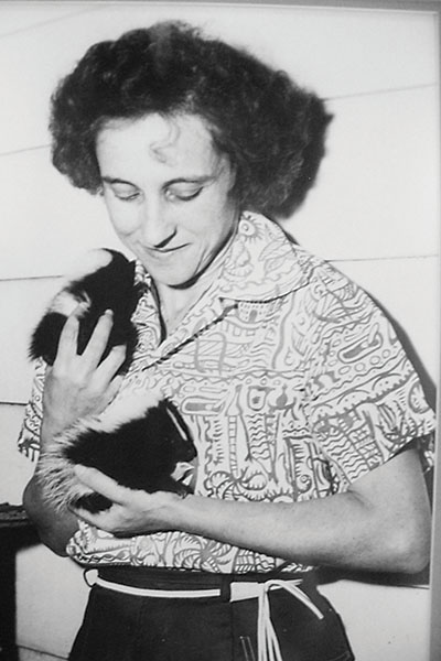 Elberta Fleming holding a Striped Skunk
